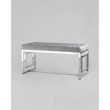 Банкетка-скамейка БРУКЛИН велюр серый сталь серебро